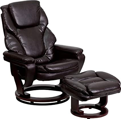 Flash Furniture BT-70222-BRN-FLAIR-GG Contemporary Brown Leather Recliner and Ottoman with Swiveling Mahogany Wood Base: Amazon.ca: Home & Kitchen