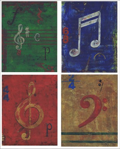 The Kids Room by Stupell Distressed Musical Notes 4-pcs. Rectangle Wall Plaque Set