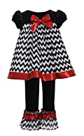 Bonnie Jean Little Girls' Christmas Chevron Dress & Ruffled Hem Leggings Set