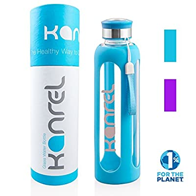Glass Drinking Water Bottle (20 oz / 32 oz Blue / Purple) with Silicone Sleeve Kanrel®, BPA Free & Eco Friendly, Leak Proof, Reusable, Best, Dishwasher Safe, Easy Clean, Designer, Sports, Travel, Yoga, Gym, Mom, Dad, Cool Office Gifts for Men & Women