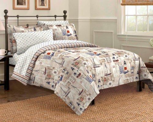 Dream Factory Cape Cod Seaside Sailing Nautical Bedding Comforter Set, Twin, Multi-Colored