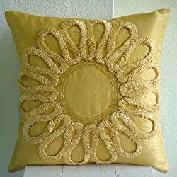 We All Blossom - Throw Pillow Covers - Silk Pillow Cover with Satin Ribbon Embroidery