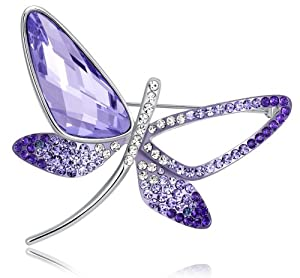 Stylized Butterfly Swarovski Elements Crystal Brooch Pin (Purple) 4012801