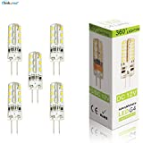 Elinkume 5 Pack High Quality G4 LED Lights 1.5 Watts 24 SMD 3014 LED Energy Bulbs with Beautiful Warm White Colour(3000K)DC12V