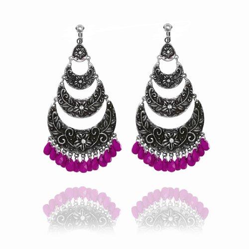 Boho Layered Cascade Clip On Earrings - Purple
