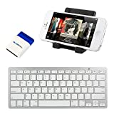 iKross Bluetooth Portable Keyboard + Cell Phone Stand Holder + Brush for Apple iPhone 5S 5C 5, 4S 4 and more Cellphone... by iKross