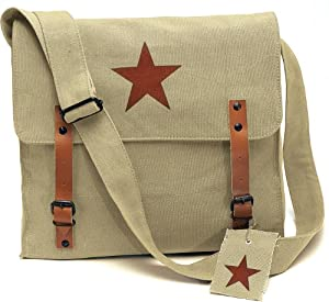 Khaki Vintage Red Star Medic Shoulder Bag
