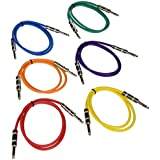 "Seismic Audio SATRX-3BGORYP 6 Pack Of Multi Color 3' 1/4""TRS To 1/4"" TRS Patch Cables"