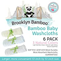 "Brooklyn Bamboo Baby Washcloth / Wipes 6 Pack Organic, SOFT, Larger 10""x10"" Size Use With Your Favorite Baby Bathing Skin Care Products And Children's Bath Towels. SOFTEST, Most Absorbent, Durable & Sustainable Washcloths On The Planet! Gentle Enough For"