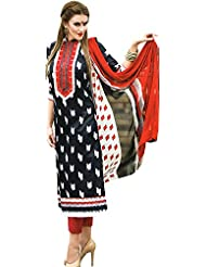 Exotic India Parallel Salwar Suit With Ikat Print And Embroidered Patch On Neck