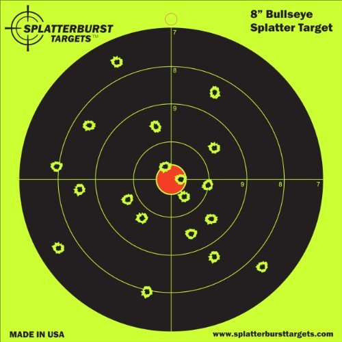 "50 Pack - 8"" Bullseye Splatterburst Target - Instantly See Your Shots Burst Bright Florescent Yellow Upon Impact!"