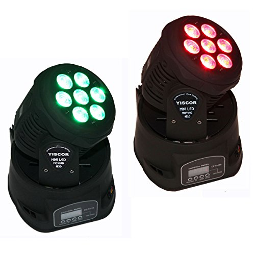 Yiscortm Stage Lighting Led Moving Head Spot Light 70W Rgbw (4-In-1) 7Led Dmx512 12Ch For Xmas Christmas Birthday Home Garden Party Effect (Pack Of 2)