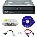 LG 16x Blu-ray M-Disc CD DVD BD BDXL Bluray-Brenner Laufwerk mit freiem 10pk Mdisc DVD + Cyberlink 3D-Wiedergabe-Brennsoftware + Kabel und Befestigungsschrauben WH16NS40