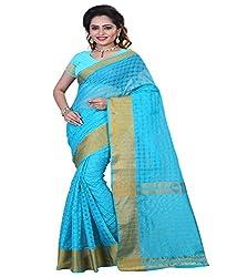 Sanju Radiant Turquoise Color Cotton Silk Saree