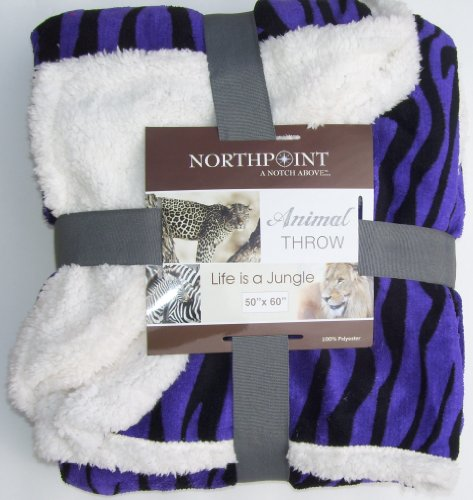 Cozy Comfy Cuddly Sherpa Reversible Throw Northpoint Purple 50 X 60 front-895716