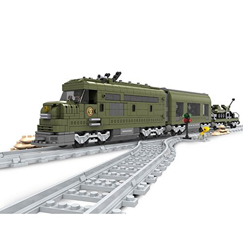 Ausini Building Blocks Military Express Locomotive Train #25003 764pcs Compatible with Lego Sluban ausini model building kits compatible city train 426 3d blocks educational model
