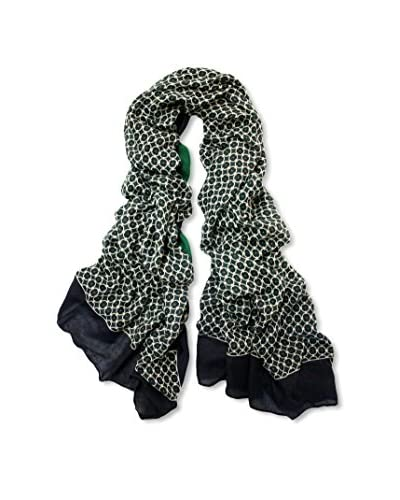Printed Village Women's Emerald Scarf, Black, Green