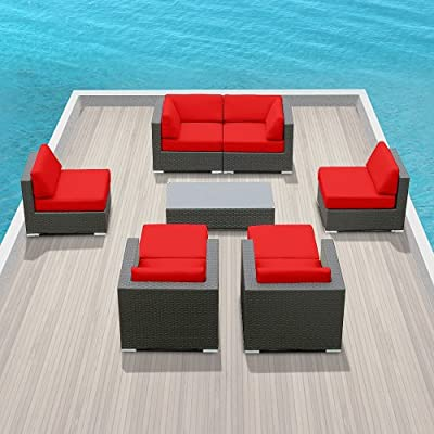 Beautiful Genuine Luxxella Outdoor Patio Wicker Sofa Sectional Furniture Venus pc Gorgeous Couch Set Red ue ue