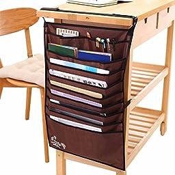 Happy- Multifunctional desk artifact students book BAG Receive BAG book file ( Color : Brown )
