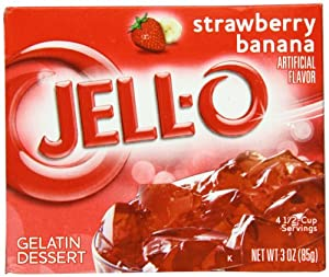Jell-O Gelatin Dessert, Strawberry Banana, 3-Ounce Boxes (Pack of 24)