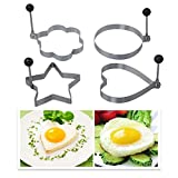 DBPOWER Kitchen Cooking Fried Oven Poacher Pancake Egg Poach Ring with Folding Handles (4, different shape)