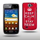 "HARDCASE H�LLE MIT KEEP CALM AND STAY REEM AUFDRUCK F�R SAMSUNG GALAXY W i8150 IN ROT/WEI�von ""CELLAPOD"""