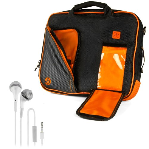 Vangoddy Pindar Sling - Black Neon Orange Pro Deluxe Shoulder Messenger Carrying Bag For Apple Macbook Air 11 Inch + White Hands-Free Earphones Headphones W/ Microphone