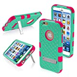 Product B00ME56I1Y - Product title MYBAT Natural TUFF Hybrid Phone Protector Cover with Diamonds and Kickstand for iPhone 6 - Retail Packaging - Teal Green/Electric Pink