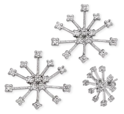 Silver C.Z. Diamond Winter Snowflake Earrings (Cyber Monday Special Sale)
