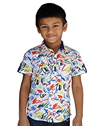 Snowflakes Boys' 5-6 Years Abstract Scribble Printed Casual Shirt