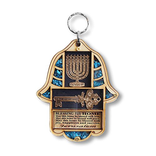 Jewish Wooden Hamsa Menorah Blessing For Home Good Luck Wall Decor With Simulated Turquoise