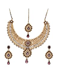 Shahenaz Jewellers 24 Ct Gold Plated Bridal Jewellery Set With CZ And Marquis Stones For Women - B00R2ION4M