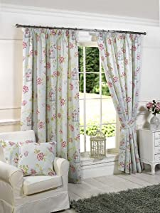 """Duck Egg Blue Pink Butterfly Cage Cotton Blend Pencil Pleat Lined Curtains 66"""" X 90"""" from PCJ SUPPLIES"""