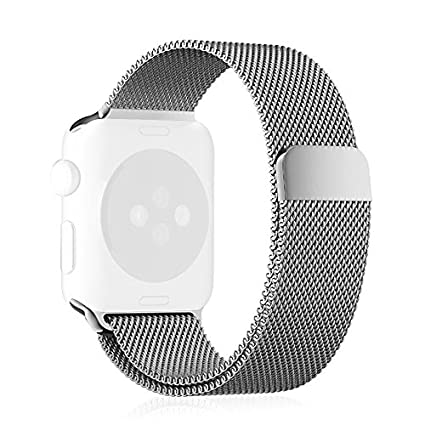 Apple-Watch-Band,-[Unique-Magnet-Lock]-Fintie-42mm-Milanese-Loop-Stainless-Steel-Bracelet-Smart-Watch-Strap-for-Apple-Watch-42mm-All-Models,-No-Buckle-Needed-SILVER