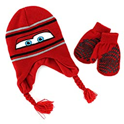 Disney Nickelodeon Toddler Boys Hat and Mittens Set (Red Lightning McQueen)