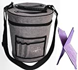 Yarn Storage Bag Organizer with Divider for Crocheting & Knitting Organization - Portable Tote for Travel - Zip Top Bin with Pockets for Accessories - Toy Storage Organizer Bag - Yarn Holder
