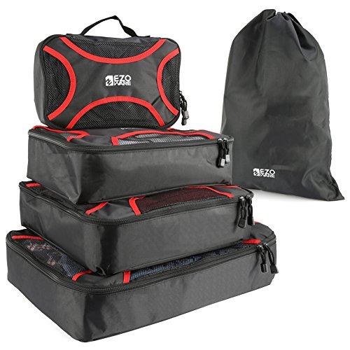 5 Organizzatori Protezioni, EZOWare Cubi Imballaggio Cubi Organizzatore Deposito Sacco Borse da Viaggio per Bagagli - Nero e Rosso, Confezione da 5
