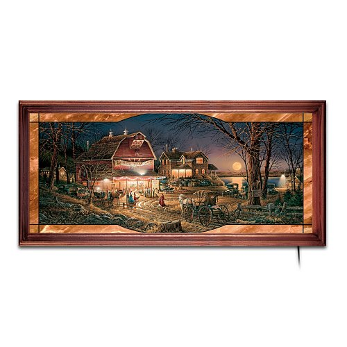 Terry Redlin's Harvest Moon Ball Stained-Glass Panorama