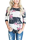 Annflat Women's 3 4 Sleeve Floral Print T-Shirts Casual Striped Blouse Tops