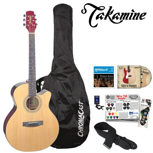 Jasmine by Takamine JF-S34C-KIT S34c Acoustic NEX Cutaway Guitar with Tuner, Guitar Bag, Strings, DVD and Pick Sampler