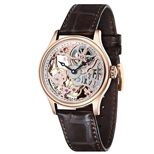 Thomas Earnshaw Bauer Mechanical Skeleton Men's Automatic Watch with Silver Dial Analogue Display and Brown Leather...
