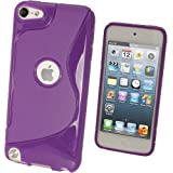 IGadgitz Dual Tone Purple Crystal Gel Skin (TPU) Case Cover for Apple iPod Touch 5th Generation 5G 32GB 64GB + Screen Protector