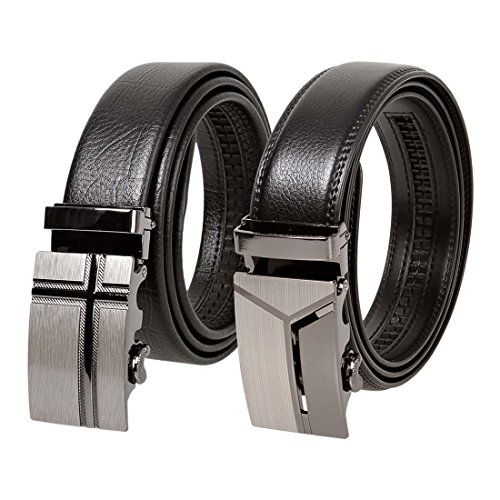 BMC 2pc Mens Black Genuine Leather Mix Size Adjustable Automatic Locking Belt Buckles - Criss Cross Hatching