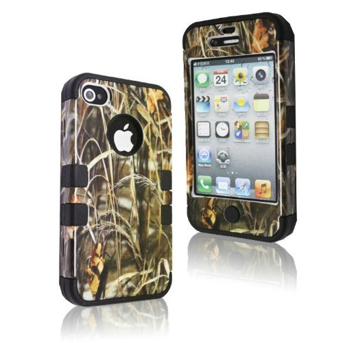 MOKOU B Style Straw Grass Mossy Camo Design Hybrid Cover Case for iPhone4 4s