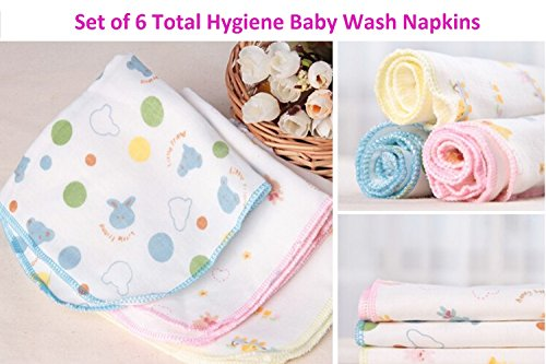 Set of 6 Baby Wash Cloths Napkins for Cleaning your Baby - Soft and Gentle on your Baby's Delicate Skin