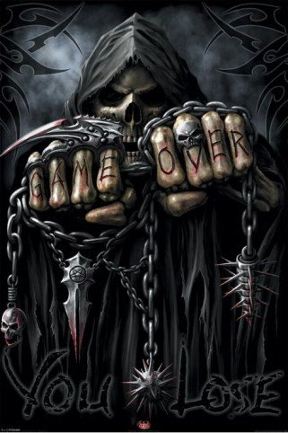1art1 48188 Gothic - Game Over Reaper, Spiral Poster 91 x 61 cm