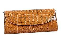Bundle Monster Womens Envelope Evening Patent Croc Skin Embossed Clutch - BROWN