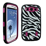 Armored Core Samsung Galaxy S3 Zebra Case Black/White Print with Hot Pink Shell