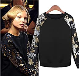 2014 Autumn and winter New pattern Sweater Women The sleeve head Fashion Leisure time Movement Sequins Embroidery Long sleeve Jacket Loose coat (M)