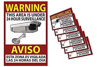 Business Security Camera & Video Surveillance Sign 13x19 inches & 6 pk of 3x4 Inch Stickers for Buildings, Parking Lots & Underground Parking Sign is in English and Spanish Durable Long Lasting